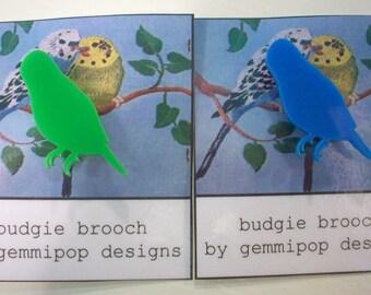 Budgie Brooch - Laser Cut Acrylic