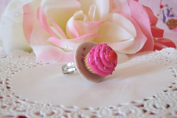 Cupcake on a Plate Ring - Choose from three flavors Vanilla Chocolate or Pink - Made to Order