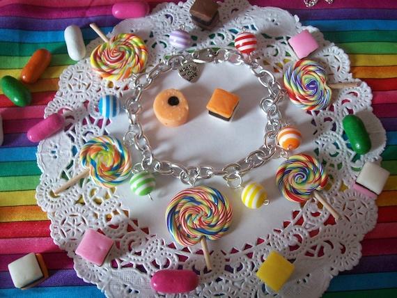 Rainbow Lollipop Charm Bracelet - Made to Order