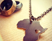 Africa Love Pendant Necklace Personalize Location of the Heart over the Country of Your Choice