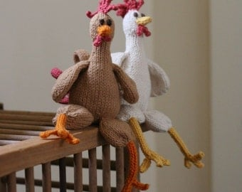 Itty Bitty Creme Filled Chickens Hand Knit Organic by yarnmiracle