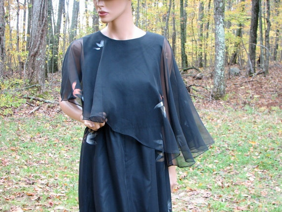 SALE Vintage 70s goth black chiffon pixie cape metallic painted silver and gold pattern maxi dress