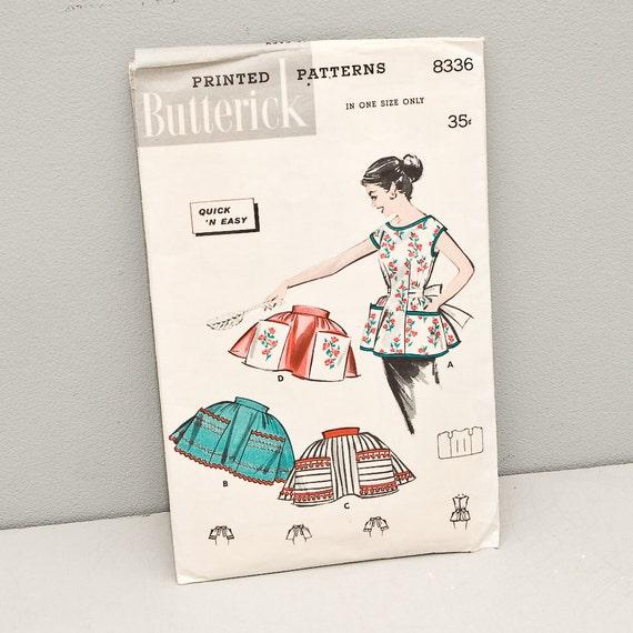 Vintage 1950s Apron Pattern - Butterick 8336