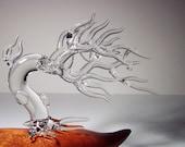 Vintage Frabel Studio Glass Crystal Sculpture Windswept Tree design by Hans Frabel