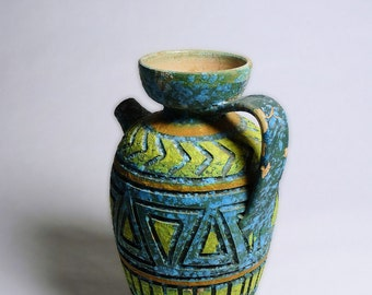 Mid-Century Geometric Carved Pottery Ewer Italy