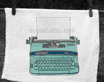 blue Typewriter vintage -Original Illustrate Drawing  A4 Print transfer on Pillows, t-shirts, scrapbook, lampshades  ETC.v