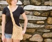 SALE - Knit Paper Crossbody Bag in Yellow - OOAK