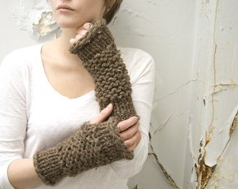 Wool Thick-Knit Fingerless Mittens - CHOOSE YOUR COLOR