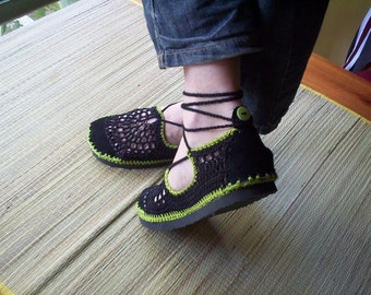 Lace up crochet VEGAN SHOES - Mary Jane - Black and Apple Green - CUSTOM made - Hippie boho footwear