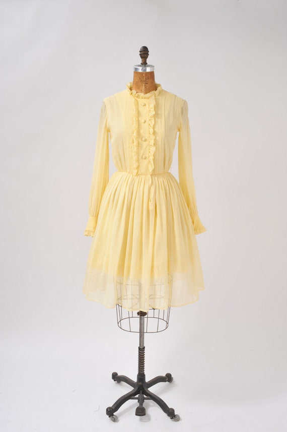 Vintage 1960's Butter Yellow Shirt Dress, Wide Skirt : Designer, Stan Herman Summer Party Day Dress Mad Men