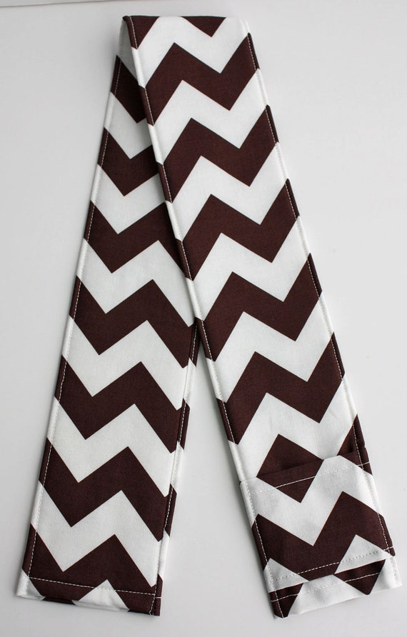 DSLR Camera Strap Cover with lens cap pocket and padding included - Mocha Chevron - SALE