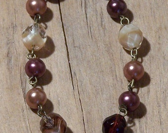 Vintage inspired classic pearls - rose mauve ivory