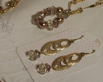 Upcycled Vintage Gold Earrings and Necklace Set