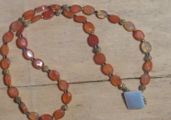 Red Carnelian Necklace w Vintage Button Clasp