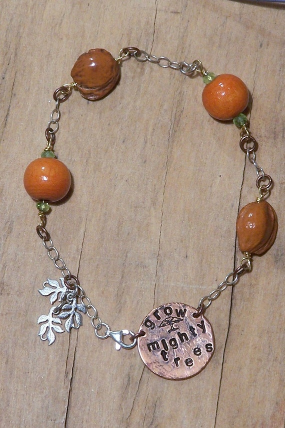 Handstamped Silver and Copper Bracelet - Grow Mighty Trees
