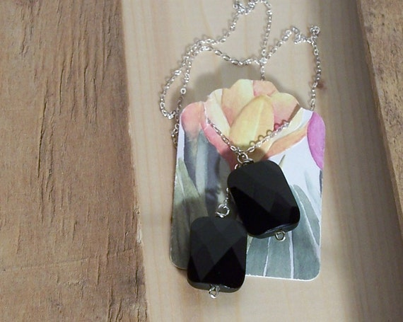 Onyx Lariat - Faceted Onyx Necklace
