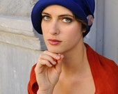 Mary Lou Blue - royal blue felt cloche