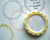 wreath frame stamp. wedding hand carved rubber stamp. write your message. birthday christmas gift wrapping. block printing. wedding crafts.