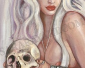 White witch pin up  by sara ray haunted halloween belladonna beauty with human skull with albino goat