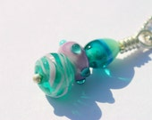 Sterling Silver and Turquoise, Lavender, Aqua, Pink Glass Pendant Necklace