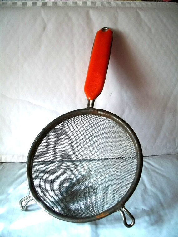 Vintage  Hand Held Strainer / Sifter  With Orange Handle  Metaltex Made In Italy