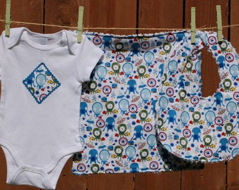 Baby Gift Set - Silly Aliens - includes bib, burp cloth, baby bodysuit (Available in size NB - 24 months)