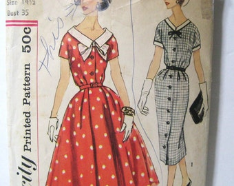 Vintage 50s Dress Pattern, Sheath & Full Skirt, 2 Skirt Styles, Simplicity 2563, Button Front, V Neck, Short Sleeve, 1958 Classic, Bust 35