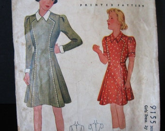 Vintage 1930's Pattern Girls Dress, McCall 9155 Printed Pattern, Long or Short Puff Sleeve Belted Waist, 1937 School Dress, Child Bust 28