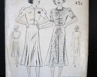 UNUSED 30s 40s Vintage Day Dress Pattern Butterick 7385, Bias Cut Skirt, Neckline & Sleeve Options, WWII Swing Sister Bust 35