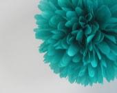 TEAL / 1 tissue paper pom pom / wedding decorations / engagement party / bridal shower / teal decorations / aisle marker / pompoms / pompoms