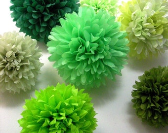 GREENS / 10 tissue paper pompoms greenery wedding aisle marker decorations first birthday party housewarming engagement boy baby shower