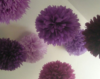 PURPLES / 10 tissue paper pom poms / wedding decorations / pompoms / purple decorations / mothers day / bat mitzvah / birthday party decor