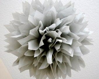 SMOKE / 1 tissue paper pom pom / diy / wedding decorations / silver anniversary / gray decorations / nursery pom decorations / pompom