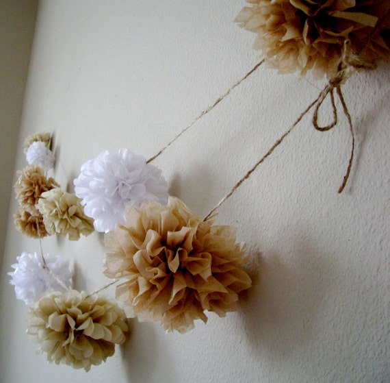 NEUTRALS ... diy tissue paper pom garland // rustic wedding decorations // nursery decoration // birthday party decorations