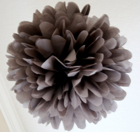 CHARCOAL GRAY / 1 tissue paper pom pom / wedding decorations / diy / gray decorations / hanging poms / pompoms / birthday party decoration