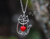Kitty Love Necklace - sterling silver cat charm and red glass heart bead on sterling silver chain -Free Shipping USA