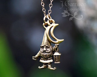 Golden Gnome and Crescent Moon Necklace - 14k gold filled chain - woodland fairy creature fun -Free Shipping USA