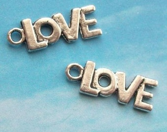 SALE - 20 LOVE charms, antiqued silver tone, 21mm