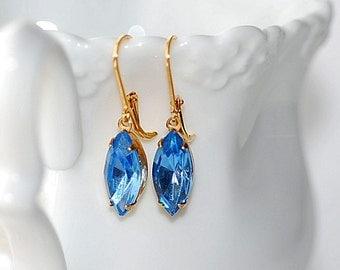 FREE SHIPPING Blue Estate Earrings Sapphire Vintage Navette old Hollywood Retro Bridal Rhinestone Glass Jewel