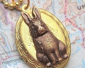 Rabbit Locket Vintage Locket Necklace Rabbit Necklace SUPER SALE Small Oval Locket Rustic Brass Bunny Rabbit Antiqued Brass Ball Chain