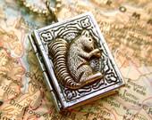 Small Squirrel Locket Necklace Antiqued Silver Book Locket Mixed Metals Rustic Finish