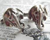 Elephant Cufflinks Silver Plated Metal Vintage Inspired Style Antiqued Finish Men's Cuff Links & Accessories Made In USA