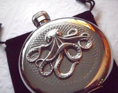 Steampunk Octopus Flask Silver Plated Gothic Victorian Style Vintage Inspired Nautical Accessories
