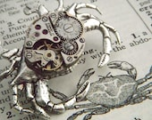 Steampunk Pin Silver Crab Brooch Vintage Movement Rustic Primitive Antique Gothic Victorian Nautical Steam Punk Jewelry