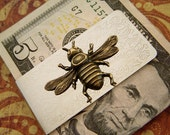 Bee Money Clip Steampunk Money Clip Gothic Victorian Style Gifts For Him Men's Money Clip Brass Bee Silver Money Clip Father's Day Gift