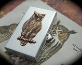 Owl Pill Box Gothic Victorian Small Classic Size Silver Tone Pill Case Copper Owl Vintage Inspired Woodland Bird Design