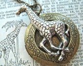 Giraffe Locket Necklace Vintage Inspired Style Animal Jewelry Mixed Metals Silver & Brass Long Chain Included