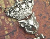 Necklace Crown & Fox Gothic Victorian Vintage Inspired Silver Plated Assemblage Jewelry Steampunk Style Woodland Animal British Pub Inspired