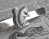 Squirrel Tie Clip Woodland Animal Silver Plated Vintage Inspired Men's Gifts Accessories Victorian Steampunk Style