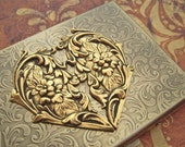 Large Brass Heart Business Card Case Cigarette Case Vintage Inspired Style Gothic Victorian Steampunk Accessories Antiqued Gold Brass Finish